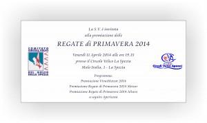 Invito premiazione regate di primavera 2014